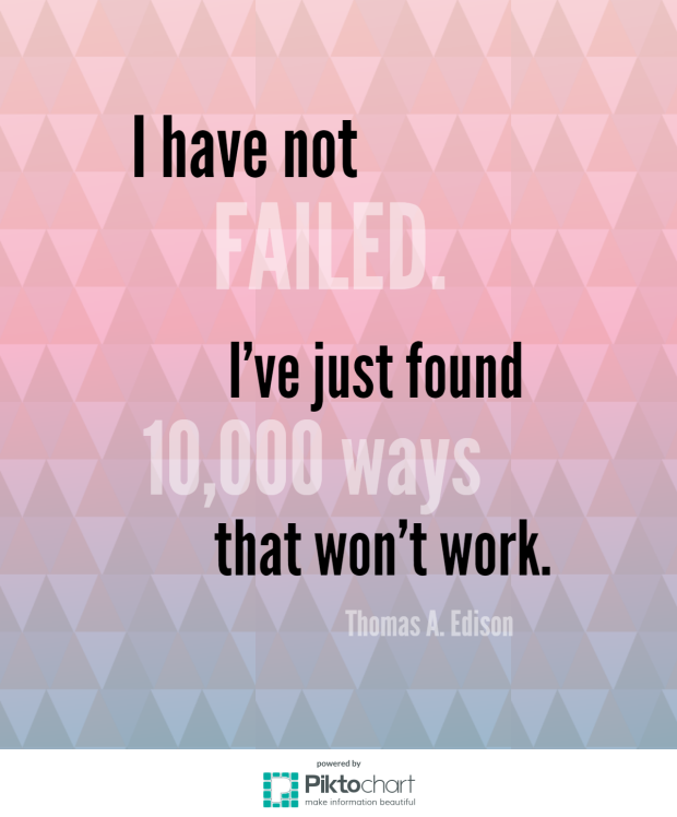 "Thomas Edison ""I have not failed. I've just found 10,000 ways that won't work."""